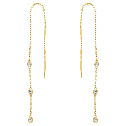 14k Yellow Gold, Threader Earring Created CZ Crystals Rolo Link (E026-044)