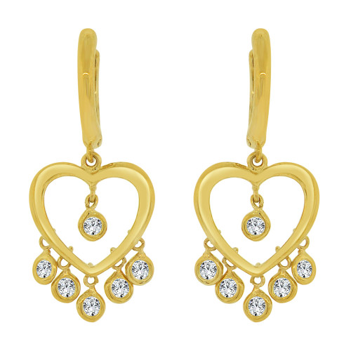 14k Yellow Gold, Adorable Dangling Heart Earring Created CZ Crystals (E027-004)