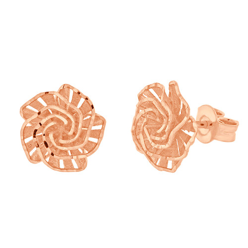 14k Rose Gold, Fancy Rose Flower Filigree Stud Earring Push Backing 11mm Wide (E027-025)
