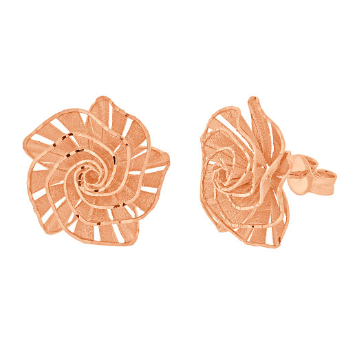14k Rose Gold, Fancy Rose Flower Filigree Stud Earring Push Backing 17mm Wide (E027-026)