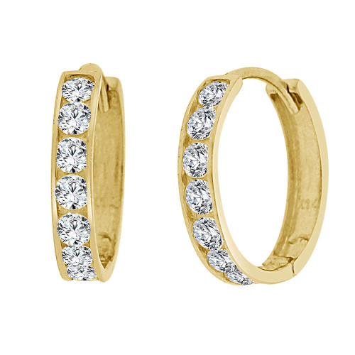 14k Yellow Gold, Small Hoop Huggies Stud Earring Created CZ Crystals 14mm Diameter (E029-003)