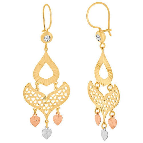 14k Tricolor Gold, Fancy Filigree Chandelier Drop Earring Created CZ Crystals 20mm Wide (E031-025)