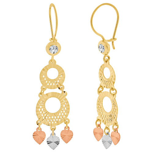 14k Tricolor Gold, Fancy Filigree Chandelier Drop Earring Created CZ Crystals 14mm Wide (E031-026)