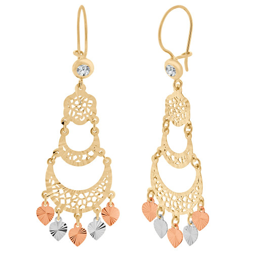 14k Tricolor Gold, Fancy Filigree Chandelier Drop Earring Created CZ Crystals 21mm Wide (E031-027)