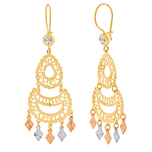 14k Tricolor Gold, Fancy Filigree Chandelier Drop Earring Created CZ Crystals 22mm Wide (E031-028)