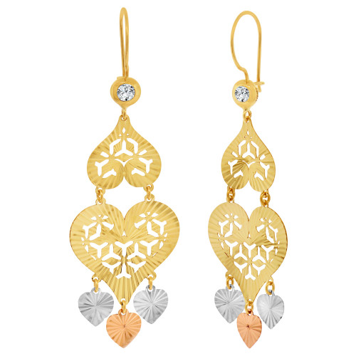14k Tricolor Gold, Fancy Heart Filigree Chandelier Drop Earring Created CZ Crystals 20mm Wide (E033-039)