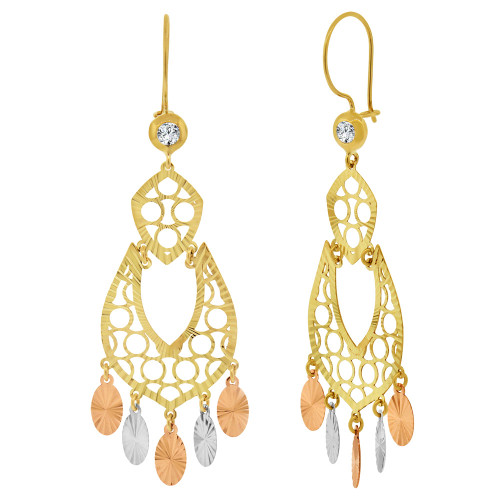14k Tricolor Gold, Fancy Filigree Chandelier Drop Earring Created CZ Crystals 20mm Wide (E033-040)