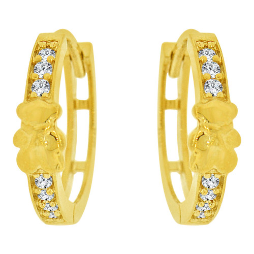 14k Yellow Gold, Teddy Bear Small Hoop Huggies Earring Created CZ Crystals (E036-002)