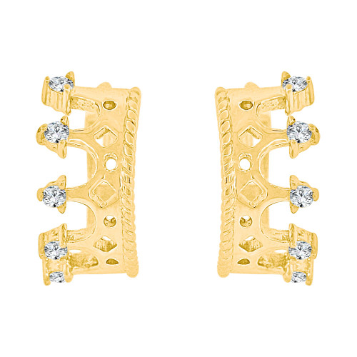 14k Yellow Gold, Tiara Crown Small Hoop Stud Earring Created Gems (E036-003)