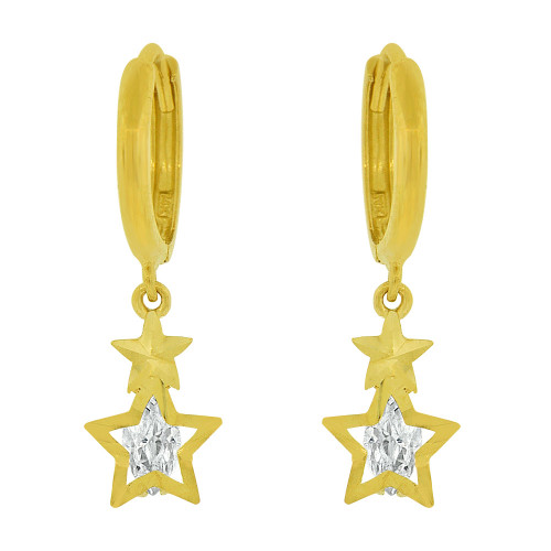 14k Yellow Gold, Star Diacut Dangle Earring Created CZ Crystals (E036-007)