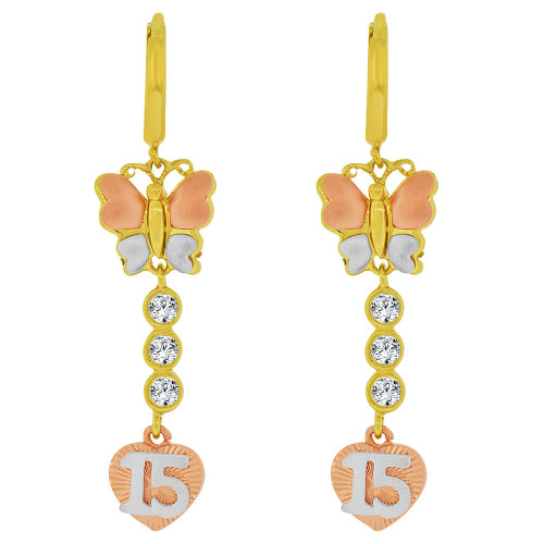 14k Tricolor Gold, Quinceanera 15 Anos Butterfly Heart Earring Created CZ Crystals (E036-013)