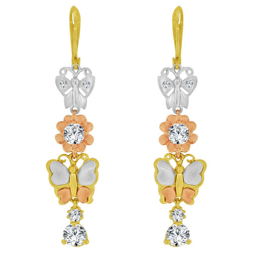 14k Tricolor Gold, Butterflies & Flower Dangling Earring Created CZ Crystals (E036-014)