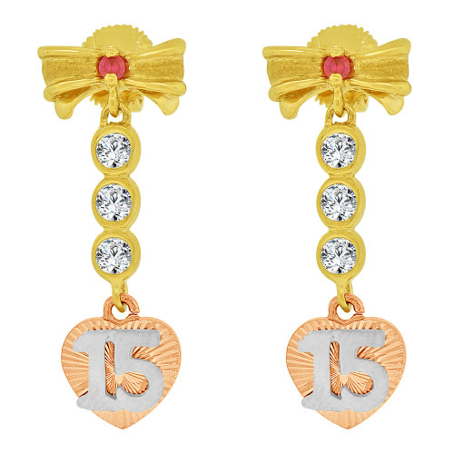 14k Tricolor Gold, Quinceanera 15 Anos Bow Heart Earring Created CZ Crystals (E036-015)