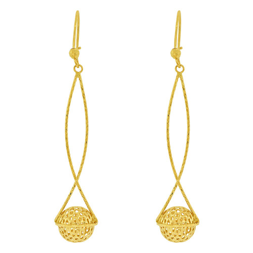 14k Yellow Gold, Sparkly Crystal Cut Hanging Bead Earring 11mm Wide (E036-019)