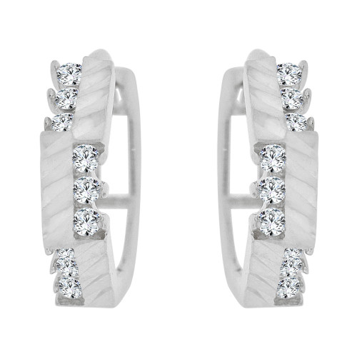 14k Gold White Rhodium, Small Hoop Huggies Earring Created CZ Crystals (E036-051)