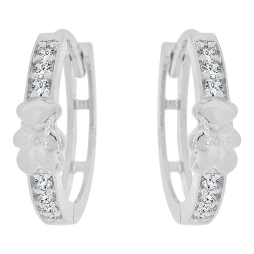 14k Gold White Rhodium, Teddy Bear Small Hoop Huggies Earring Created CZ Crystals (E036-052)