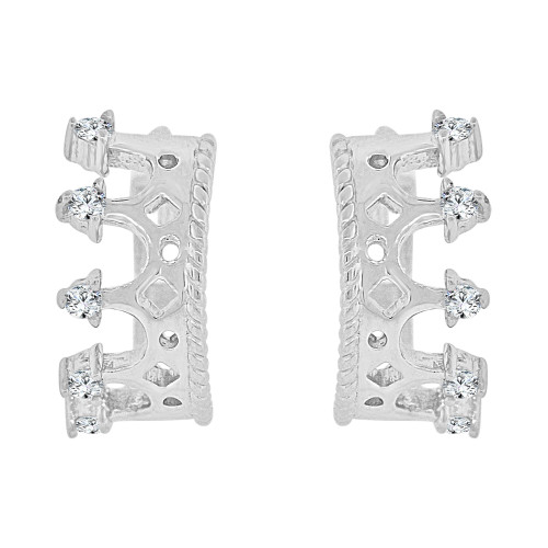 14k Gold White Rhodium, Tiara Crown Small Hoop Huggies Earring Created CZ Crystals (E036-053)