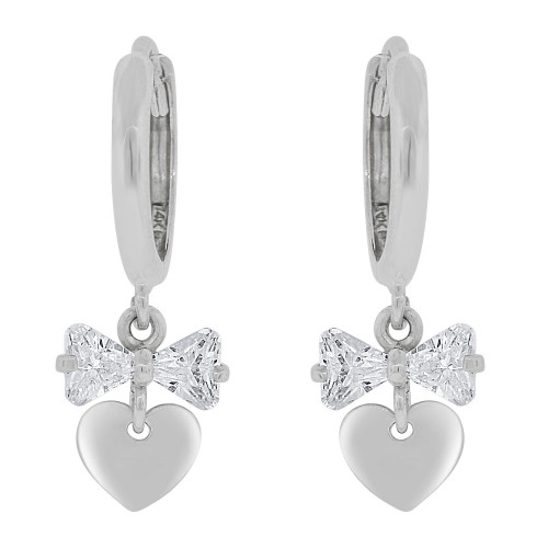 14k Gold White Rhodium, Polished Heart Dangle Earring Created CZ Crystals (E036-055)