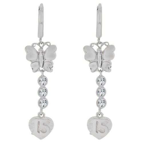 14k Gold White Rhodium, Quinceanera 15 Anos Butterfly Heart Earring Created CZ Crystals (E036-063)