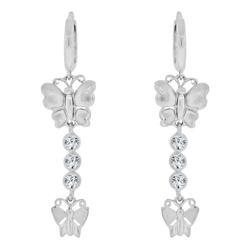 14k Gold White Rhodium, Fancy Butterflies Drop Earring Created CZ Crystals (E036-064)