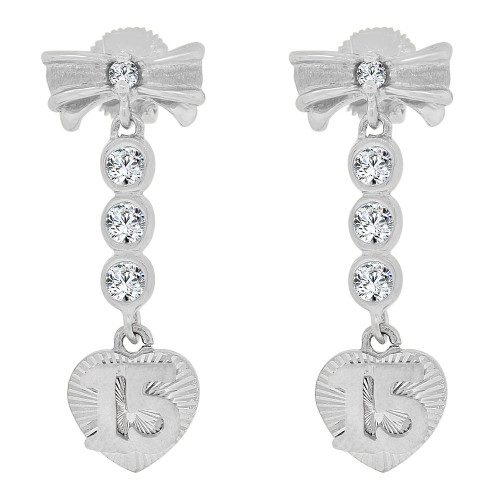 14k Gold White Rhodium, Quinceanera 15 Anos Bow Heart Earring Created CZ Crystals (E036-065)