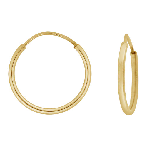 14k Yellow Gold, Plain Round Hollow 1.5mm Tube Circular Hoop Earring 11mm Diameter Endless Clasp (E050-001)
