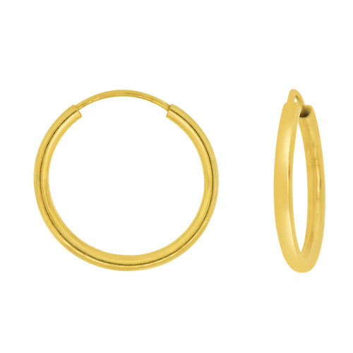 14k Yellow Gold, Plain Round Hollow 1.5mm Tube Circular Hoop Earring 15mm Diameter Endless Clasp (E050-002)
