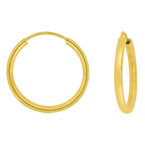 14k Yellow Gold, Plain Round Hollow 1.5mm Tube Circular Hoop Earring 20mm Diameter Endless Clasp (E050-003)
