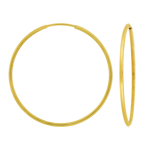 14k Yellow Gold, Plain Round Hollow 1.5mm Tube Circular Hoop Earring 35mm Diameter Endless Clasp (E050-005)