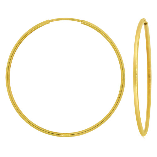 14k Yellow Gold, Plain Round Hollow 1.5mm Tube Circular Hoop Earring 45mm Diameter Endless Clasp (E050-006)