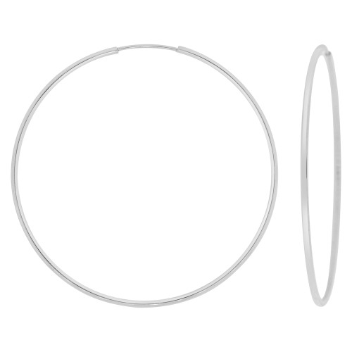 14k Gold White Rhodium, Plain Round Hollow 1mm Tube Circular Hoop Earring 50mm Diameter (E050-057)