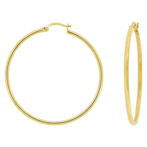 14k Yellow Gold, Plain Round Hollow 2mm Tube Circular Hoop Earring 40mm Diameter (E053-006)