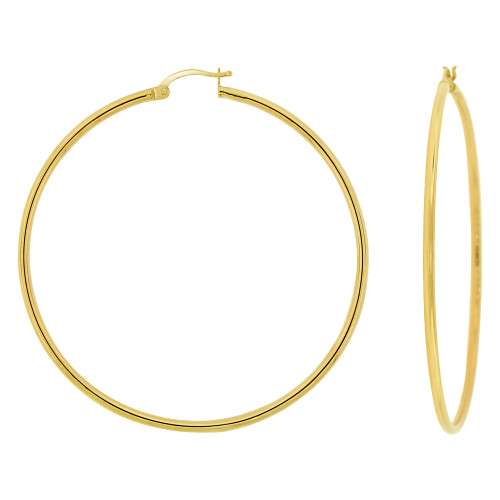 14k Yellow Gold, Plain Round Hollow 2mm Tube Circular Hoop Earring 60mm Diameter (E053-007)