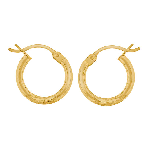14k Yellow Gold, Sparkly Cut Round Hollow 2mm Tube Circular Hoop Earring 15mm Diameter (E054-001)