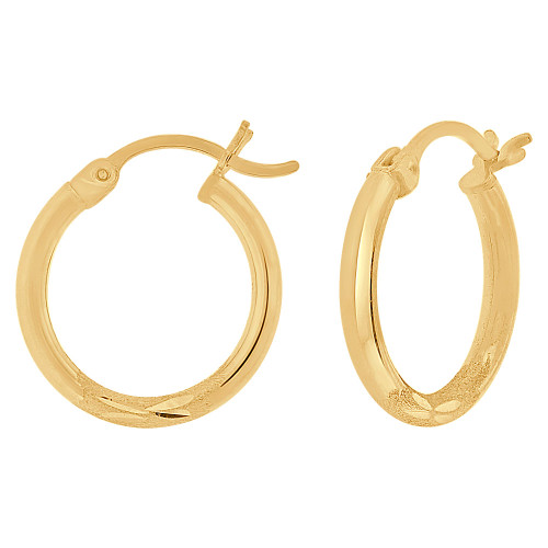 14k Yellow Gold, Sparkly Cut Round Hollow 2mm Tube Circular Hoop Earring 18mm Diameter (E054-002)