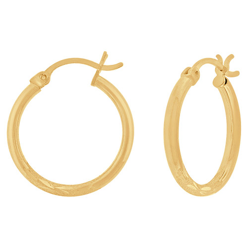 14k Yellow Gold, Sparkly Cut Round Hollow 2mm Tube Circular Hoop Earring 20mm Diameter (E054-003)