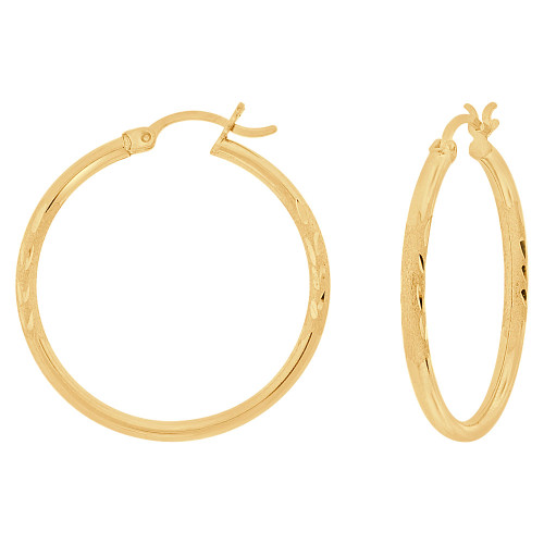 14k Yellow Gold, Sparkly Cut Round Hollow 2mm Tube Circular Hoop Earring 30mm Diameter (E054-005)
