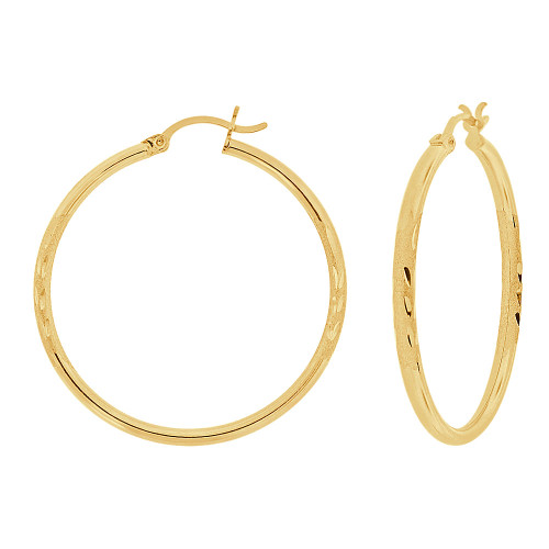 14k Yellow Gold, Sparkly Cut Round Hollow 2mm Tube Circular Hoop Earring 35mm Diameter (E054-006)