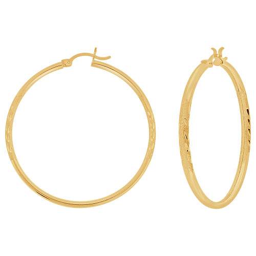 14k Yellow Gold, Sparkly Cut Round Hollow 2mm Tube Circular Hoop Earring 45mm Diameter (E054-007)