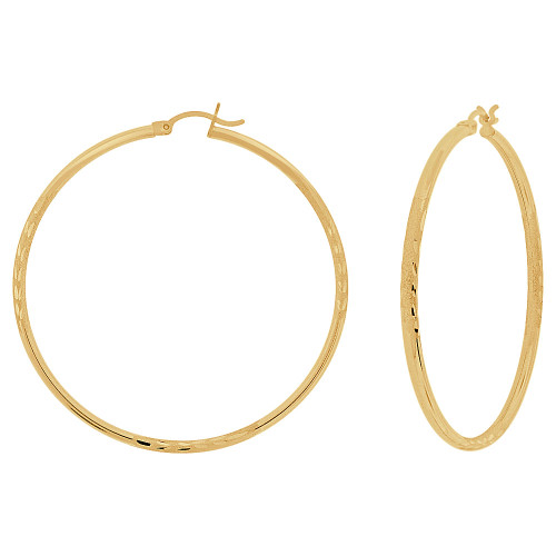 14k Yellow Gold, Sparkly Cut Round Hollow 2mm Tube Circular Hoop Earring 50mm Diameter (E054-008)