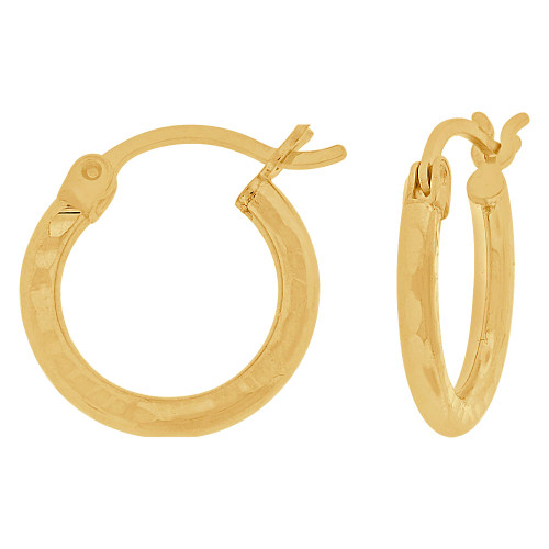 14k Yellow Gold, Full Sparkle Cut Round Hollow 2mm Tube Circular Hoop Earring 15mm Diameter (E055-017)