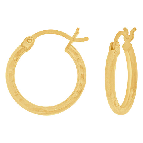 14k Yellow Gold, Full Sparkle Cut Round Hollow 2mm Tube Circular Hoop Earring 17mm Diameter (E055-018)