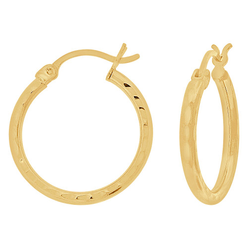 14k Yellow Gold, Full Sparkle Cut Round Hollow 2mm Tube Circular Hoop Earring 20mm Diameter (E055-019)