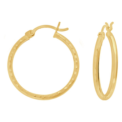 14k Yellow Gold, Full Sparkle Cut Round Hollow 2mm Tube Circular Hoop Earring 25mm Diameter (E055-020)