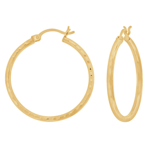 14k Yellow Gold, Full Sparkle Cut Round Hollow 2mm Tube Circular Hoop Earring 30mm Diameter (E055-021)