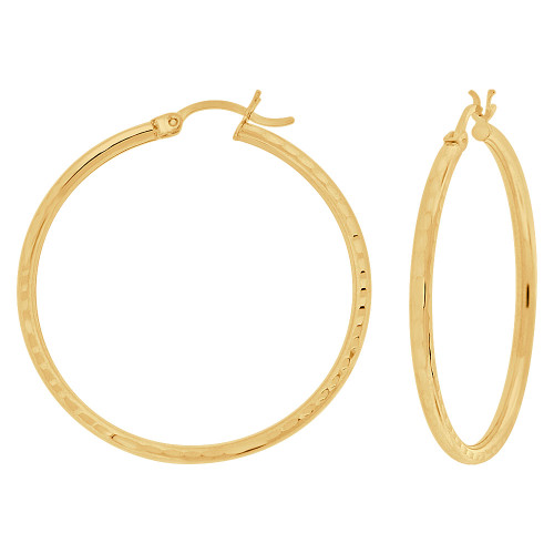 14k Yellow Gold, Full Sparkle Cut Round Hollow 2mm Tube Circular Hoop Earring 35mm Diameter (E055-022)