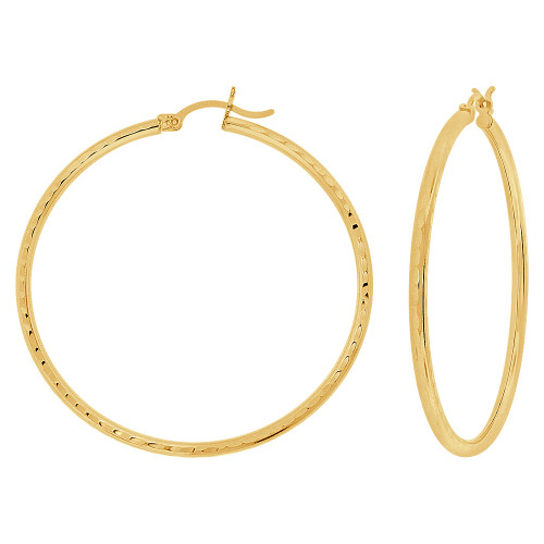 14k Yellow Gold, Full Sparkle Cut Round Hollow 2mm Tube Circular Hoop Earring 45mm Diameter (E055-023)