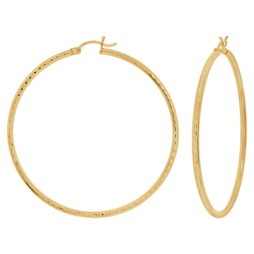 14k Yellow Gold, Full Sparkle Cut Round Hollow 2mm Tube Circular Hoop Earring 55mm Diameter (E055-025)
