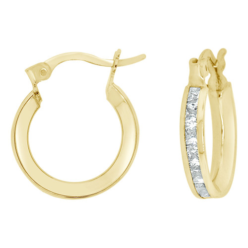 14k Yellow Gold, 3mm Wide Channel Set Princess Cut CZ Earring 18mm Diameter (E056-002)