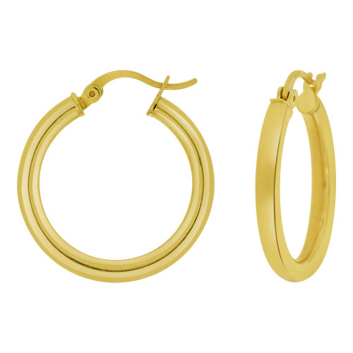 14k Yellow Gold, Hollow 3mm Tube Circular Hoop Earring 18mm Inner Diameter (E057-003)